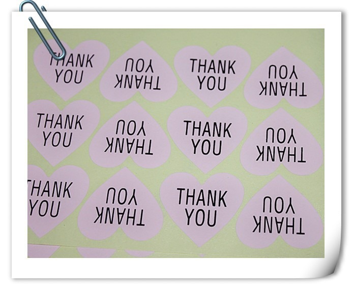 light pink thank you sticker for wedding favours and berkat