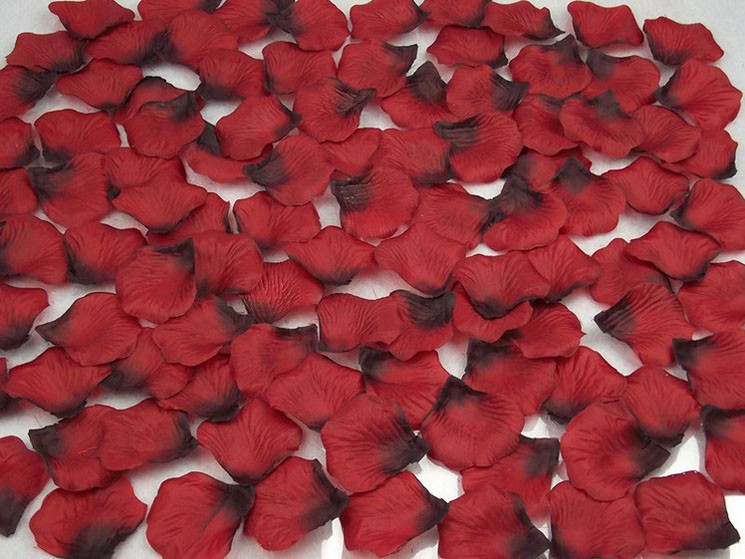 Silk rose petal wedding table bed aisle decoration for Bed decoration with rose petals